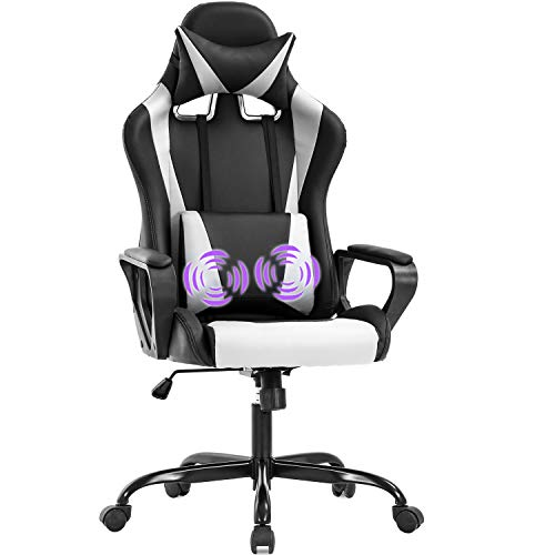 Gaming Chair Office Chair Racing Chair with Lumbar Support Arms Headrest High Back PU Leather Ergonomic Desk Chair Rolling Swivel Adjustable PC Computer Chair for Women Adults Girls(White)