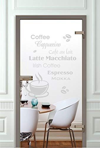 rs-interhandel Glastüren Aufkleber Glasdekor GD544 Küche Kaffee Fensterfolie Glasaufkleber Glasdekorfolie