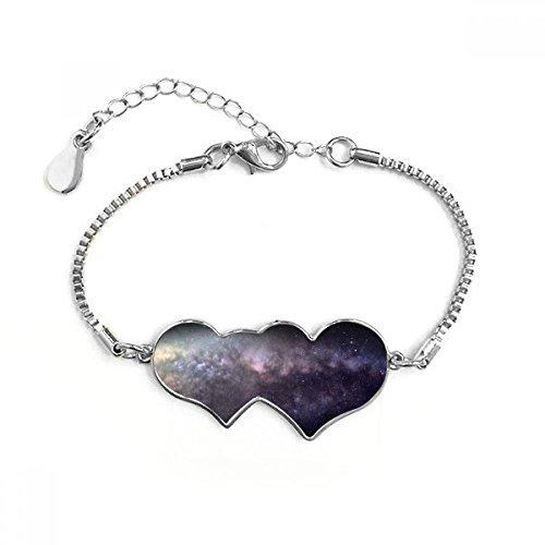 DIYthinker Lavanda elíptica Nebulosa cósmica en Universo Oscuro patrón de la ilustración de Corazones Dobles Shape-Corte Redondo cúbico Pulsera de Cadena de Amor Regalos