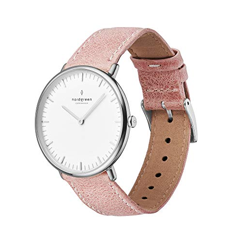 Nordgreen Unisex Native Scandinavian Silver Analog Watch 36mm with Pink Leather Strap...