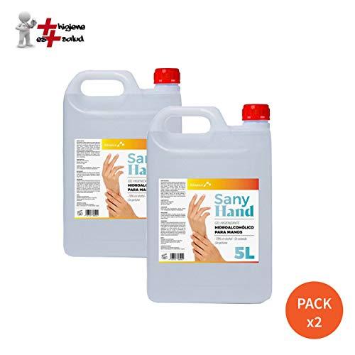Pack x 2 Gel Higienizante de manos Sany Hand 5L Anti-Bacteriano · Hidrogel Desinfectante manos sin aclarado y con secado instantáneo · Ideal para el uso en Dispensadores · Formato 5L (7,08 Eur /Litro)