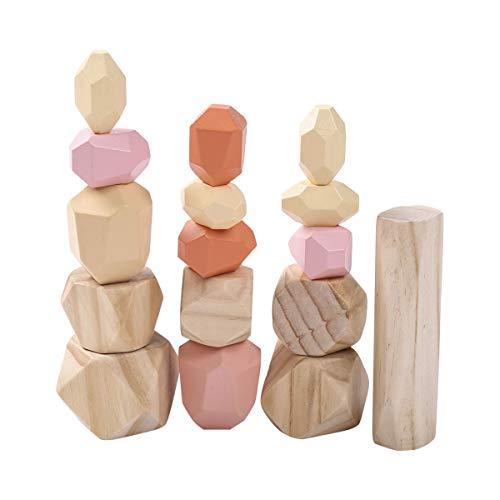 Holzbausteine Set, Handgefertigte Holzstein-Ausgleichsblöcke, Naturholzspielzeug, farbige Holzsteine Stapelspiel Rock Block Spiel Lernspielzeug für Kinder (Bunt G, 16pcs)