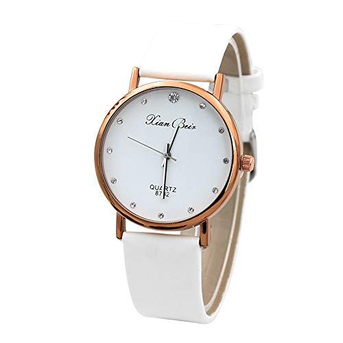 Damenuhr aus Leder, JiaMeng Diamond Leatheroid Band Round Dial Quarz-Armbanduhr