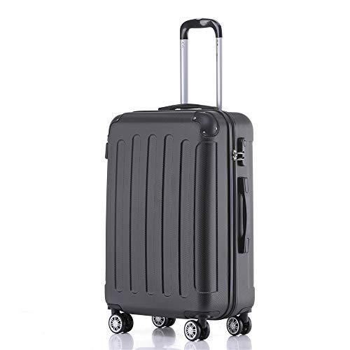 Handgepäck Koffer Hartschalen Trolley Rollkoffer Reisekoffer Mit Schloss Und 4 Rollen Leichtgewicht ABS Koffer Hartschale Für Reisen - Schwarz-L