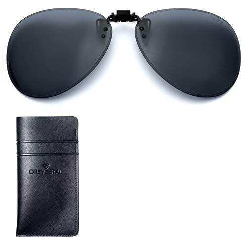 CREYESTAL Clip Gafas de Sol Polarizadas, Clip para Gafas Graduadas, Abatible, Ligero y Cómodo, Hombre, Mujer, 100% Anti-UV, Certificado CE