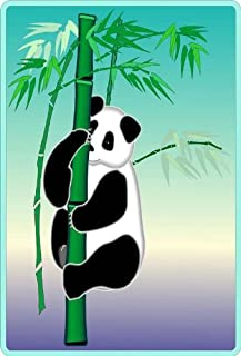 Panda Bear on a Stalk of Bamboo - Etched Vinyl Stained Glass Film, Static Cling Window Decal