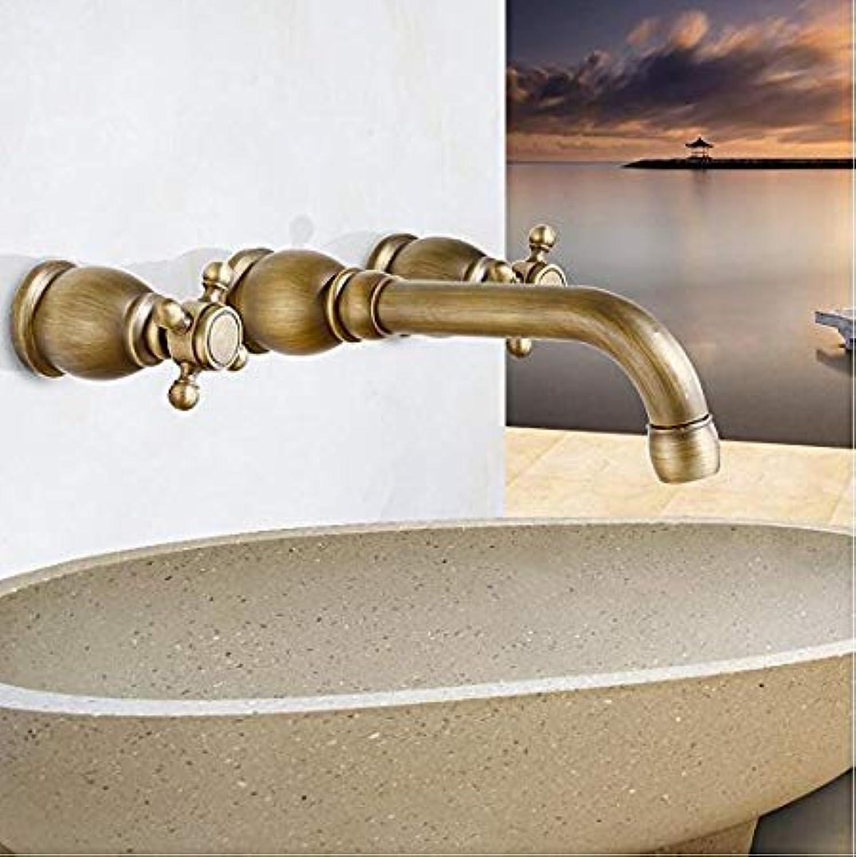 ROTOOY Wasserhahn 3 Stücke Antike Messing Wand Bad Becken Waschbecken Vanity Wasserhahn Wasserhahn BadarmaturenWasserhhne
