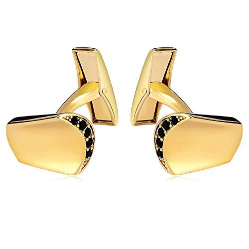 SonMo 1 Paar Manschettenknopf Herren Edelstahl Konkav Frites Box Manschettenknöpfe Herren Personalisiert Gold 1.3×1.7 cm Geschenk für Männer