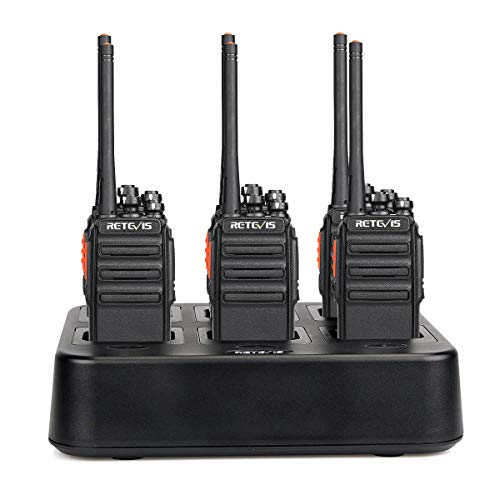 Retevis H-777S Walkie Talkies Rechargeable 16 Channels UHF VOX Privacy Codes Security Two Way Radios Long Range(6 Pack) with Six Way Gang Multi Charger