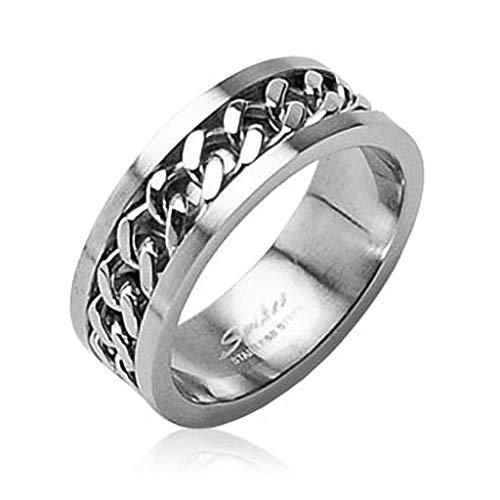Autiga Herren Damen Edelstahl Ring Silber Ketten Inlay Kettenring Drehring Spinner Silber 49 - Ø 15,70 mm 6 mm