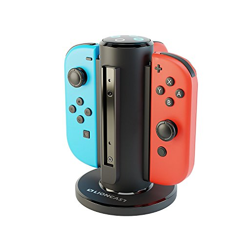 Lioncast Base de Carga para Joy-Con - Dock de Carga para 4 Mandos - Compatible con los Controles de Nintendo Switch - Luces Indicadoras de Estado de Carga, Fondo Fuerte - Accesorios de Juego