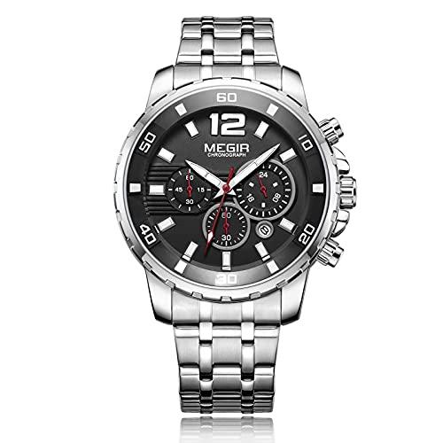 RORIOS Hombre Relojes Impermeable Cuarzo Reloj con Correa de Acero Inoxidable Cronografo Moda Deportivo Relojes de Pulsera para Hombre