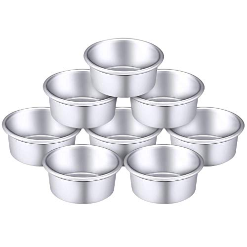 Pite 10 Pieces 4 Inch Round Aluminum Cake Pan Set Non-Stick Round Cheesecake Baking Pans for Home Party Baking Supplies