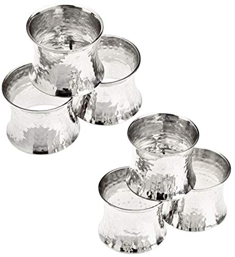 SKAVIJ Portatovaglioli Set di 6 - Portatovaglioli in Metallo Martellato - Decorazione Tavolo da Pranzo Argento