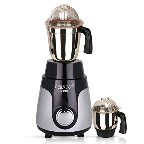Masterclass Sanyo 750Watts P. Black/Silver Mixer Grinder with 2 Jar (1 Large Steel Jar, 1 Chutney Jar) Made in India. (ISI Certified)