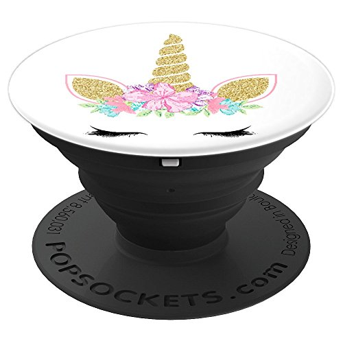 Cute Floral Unicorn Unicorn Face on White PopSockets Grip and Stand for Phones and Tablets