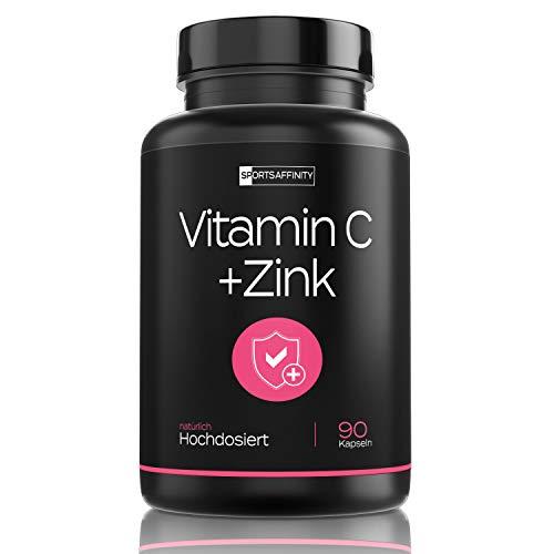 Natürliches Vitamin C + Zink - pflanzliches Vitamin C aus der Acerola Kirsche - Mit hoher Bioverfügbarkeit & wichtige Bioflavonoide (vegan) - Hochdosiert Tabletten - Ascorbinsäure (90 Kapseln)