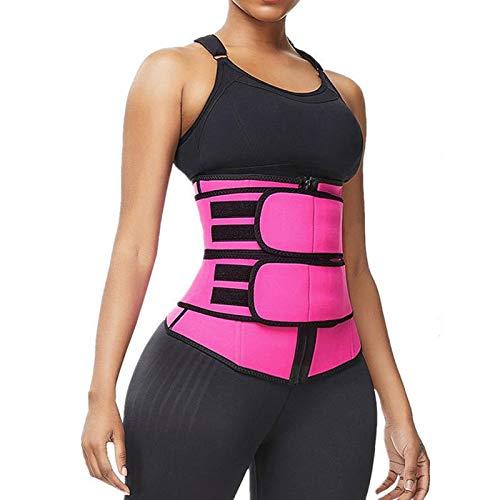 Women Neoprene Waist Trainer Corsets Trimmer Belt Workout Sports Tummy Control Body Shaper Slim Belly Band Zipper Pink