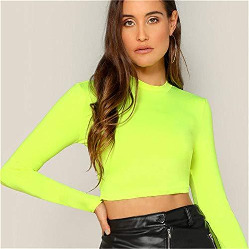 RYSLJJWCZ Cuello Mock Slim Fit Crop Top Manga Larga Sexy Slim Top Verano Mujer Streetwear Solid Tees-Neon_Green_S