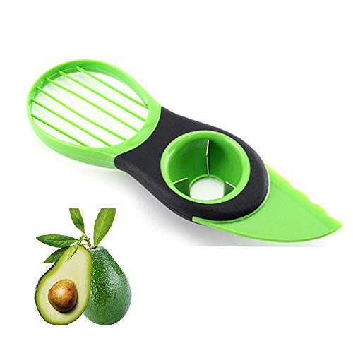 GFANSY Avocado Slicer, 3 in 1 Avocado Cutter Tool, Avocado Peeler with Soft Handle for Kiwi Pitaya Fruit BPA Free Kitchen Tools (Avocado Slicer, Green)