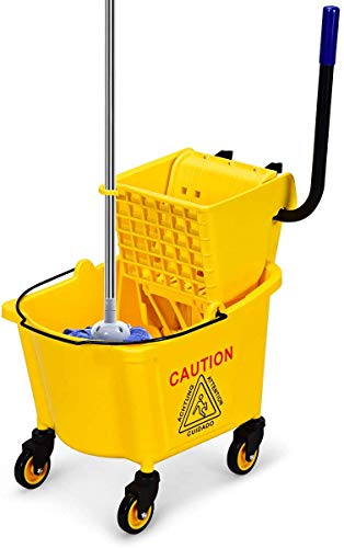 ReunionG Commercial Mop Bucket, Household Bucket with Wringer, Side Press Mop Bucket with Wheel and Handle, Side Press Wringer Trolley with Ergonomic Rocker for Easy Water Drain, Yellow (26 Quart)