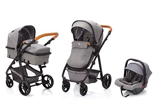 Fillikid fill Kinderwagen-Set Panther mit Babyschale | Multi Kinderwagen/Kombikinderwagen 3in1 mit Buggy & Babyschale, Design:hellgrau