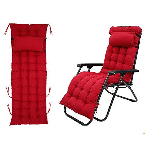 Auflagen für Gartenliegen, Sun Lounger Cushions Tragbare Garten Dick Gepolstertes, Liegestuhl Polster Kissen für Reisen, Urlaub, Innen, Außen (Rot)