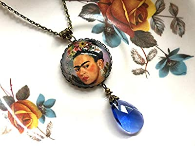 Necklace with a Frida Kahlo pendant and blue teardrop glass bead, vintage style brass, art jewellery gifts, Selma Dreams