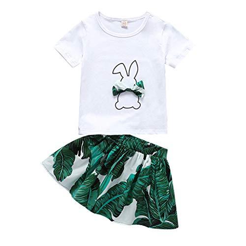Julhold Peuter Baby Kids Meisjes Mode Vrije tijd Konijn Bunny Boog Katoen Tops Blad Print Rok Outfits Set Nieuwe 1-6 Jaar