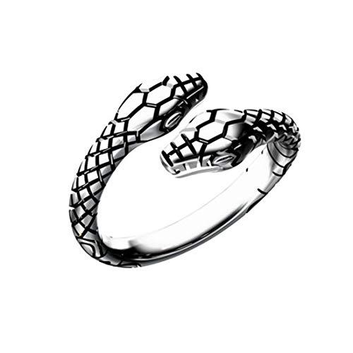 HIJONES Semplice Aperto Serpente Animale Anello da Uomo Donna in Acciaio Inossidabile Regolabile Argento Taglia 20