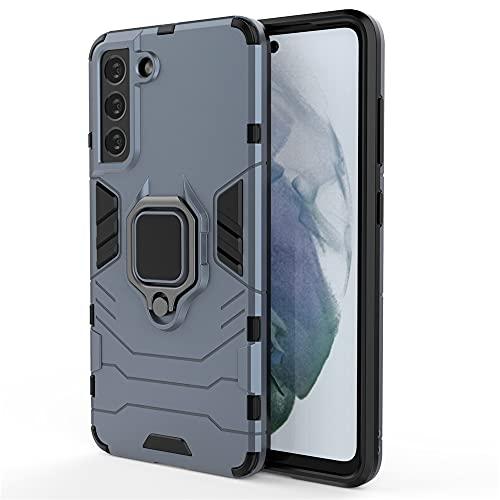 Funda para Samsung Galaxy S21 FE, RonRun Carcasa de PC + TPU Antigolpes Anticaídas Antiarañazos con Anillo Giratorio para Soporte Magnético de Coche, Azul marino