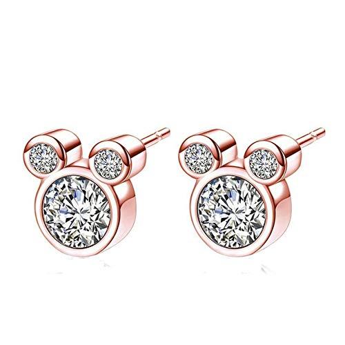 abbybubble Pendientes de Mickey Mouse Pendientes de botón de circonita de Diamante Flash Pendientes de botón de Estilo Animal para Mujer Accesorios