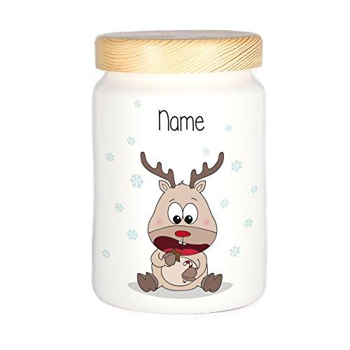 Herz & Heim® Keksdose personalisiert mit Ihrem Wunschnamen zu Weihnachten für Ihre Plätzchen Rentier