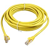 RELPER-LiNESO Cat7 Ethernet Cable 20ft High Speed 10 Gigabit Shielded (STP) Computer Internet Round Cable LAN Network Cable with Snagless Rj45 Connectors CAT-7 (cat7 20feet Yellow)