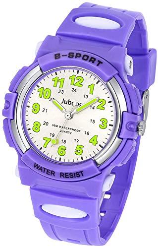 腕時計 時計 アナログ 子供 キッズ ボーイズ 男の子 女の子 ガールズ 防水 日本製クオーツムーブメント スポーツウォッチ オシャレ プレゼント ギフト (パープル)