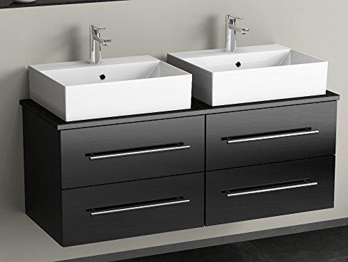 Flex badkamermeubel 120cm met 4 laden - keramische wasbak hoekig - dragerplaat van graniet - zwart hoogglans