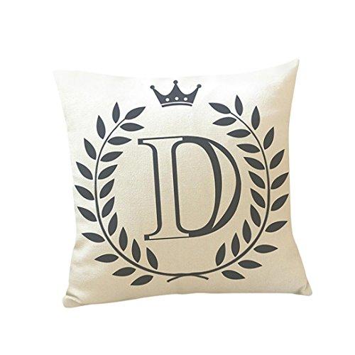 Kissenbezug 45 x 45 cm Brief A-Z Drucken Dekokissen Fall Sofa Home Decor Pillow Cover LuckyGirls (D)