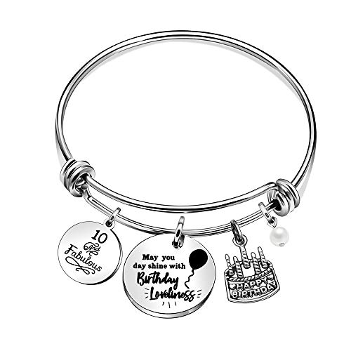 Jewellery Women Charm Bracelets Birthday for She May You Day Shine with Birthday Loveliness 10th 11st 13th 16th Age Medium Silver