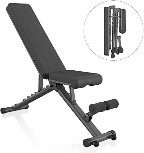 Adjustable Weight Bench Foldable Full Body Workout, 8 + 4 + 2 Position Multipurpose Incline/Flat/Decline Bench for Home Strength Training