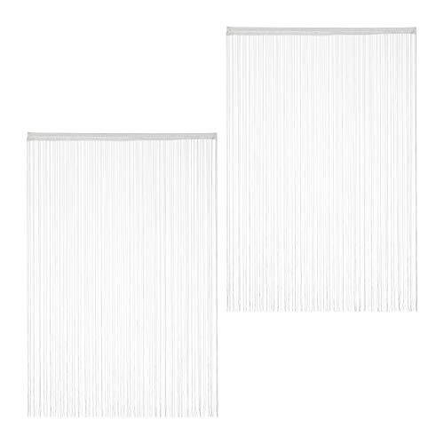 Relaxdays weiß, Fadenvorhang, 2er Set, kürzbar, mit Tunneldurchzug, für Türen & Fenster, Fadengardine, 145x245 cm, White, Pack 145x245cm