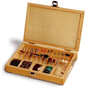 Scheppach 88002730 Werkzeug-Set 103 Teile im Holzkoffer f. Dekupiersäge