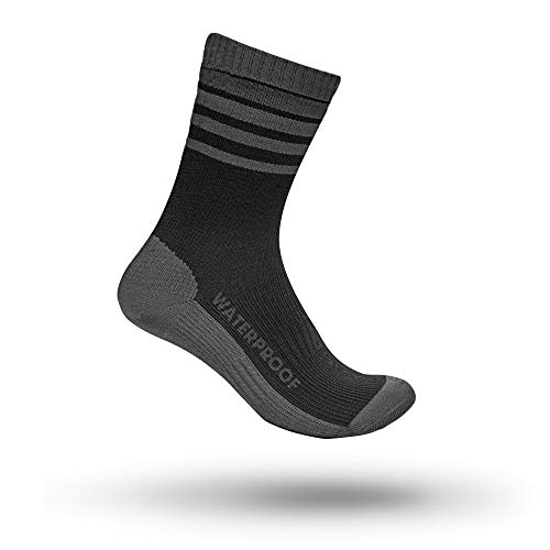 GripGrab Wasserdichte Merino-Wolle Thermo Winter Fahrrad Socken, Schwarz/Grau, XL