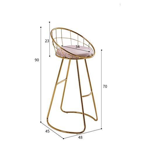 YNGJUEN Barhocker Stuhl Hochwertiges Gold Eisenrahmen Dauerhaft Zu Hause Esstisch Stuhlhöhe 65cm (Color : Yellow)