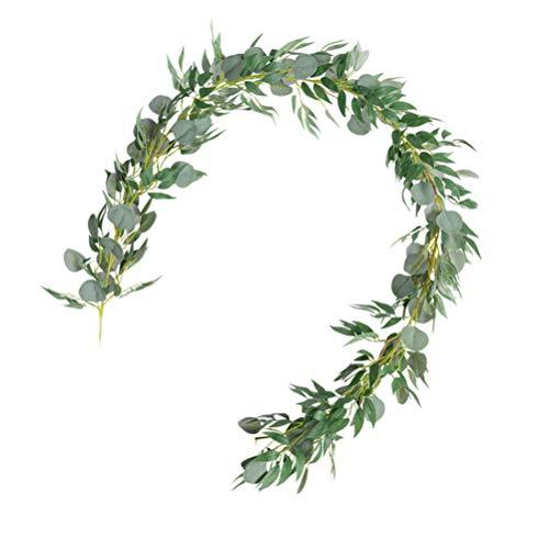 Garneck künstliche Salix Blatt seidentuch grünpflanze Blatt gefälschte Salix Blatt Girlande hängende Dekoration Pflanze für Hochzeit zu Hause weihnachtsfest Party