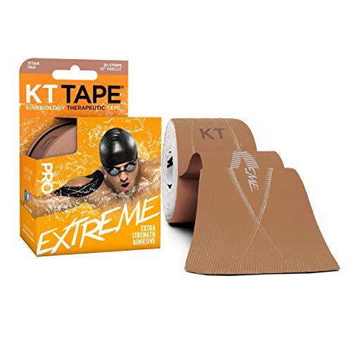 KT Tape Pro Extreme therapeutisches elastisches Kinesiologie-Tape, 20 vorgeschnittene 25,4 cm Streifen, 100% Synthetisches wasserbeständig, atmungsaktiv, Pro & Olympic Choice, Titan Tan