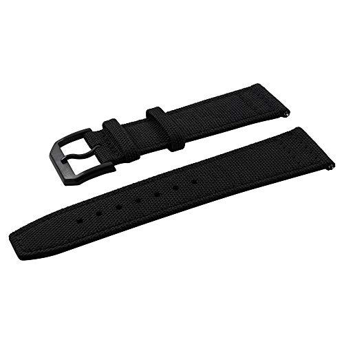 WRISTPUNK Uhrenarmband Segeltuch Canvas - All Black - Dornschließe Schwarz Eloxiert - 22mm