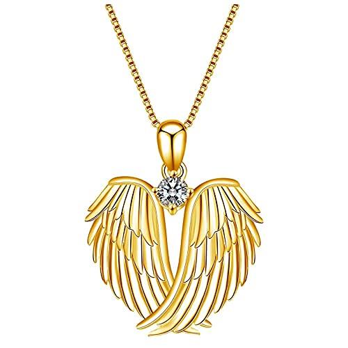 HEling Collar con colgante de corazón y alas para mujer, con piedras natalicias, color dorado, talla única