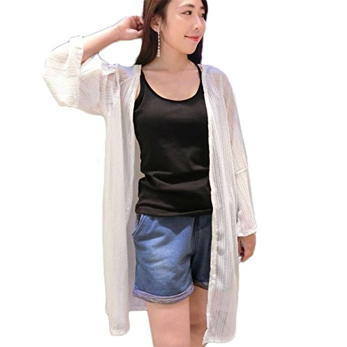 Freedi Women Kimono UV Sun Protection Clothing Cover up Blouses Long Sleeve Top Cardigan Coat Jacket White