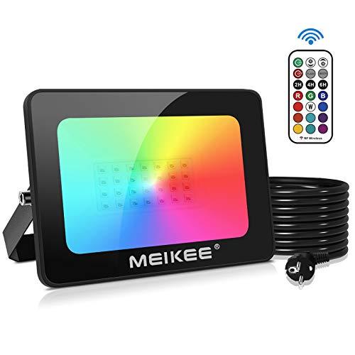 MEIKEE Foco RGB 35W con Control Remoto, Luces Decorativas de Color 2 Modos 12 Colores, Función de Memoria, Foco RGB IP66 Impermeable, Focos Proyector de Luces de Halloween Fiesta Cumpleaños