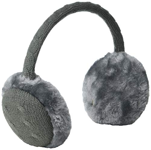 Collection XIIX Damen Cable Faux Fur Earmuffs Kopfband für kaltes Wetter, grau, Einheitsgröße
